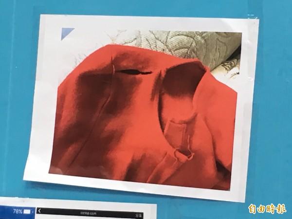 費者陳小姐於2月底在臉書粉絲團上下訂一件1388元的紅色西裝外套。(記者林彥彤攝)