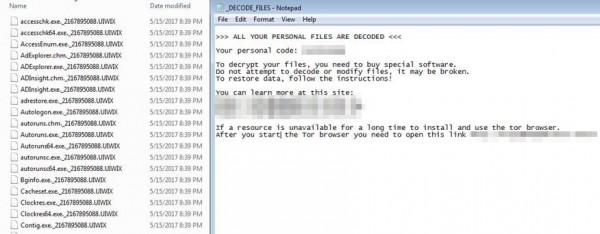 「UIWIX」加密檔案(左)、「UIWIX」勒索訊息(右)(趨勢科技提供)