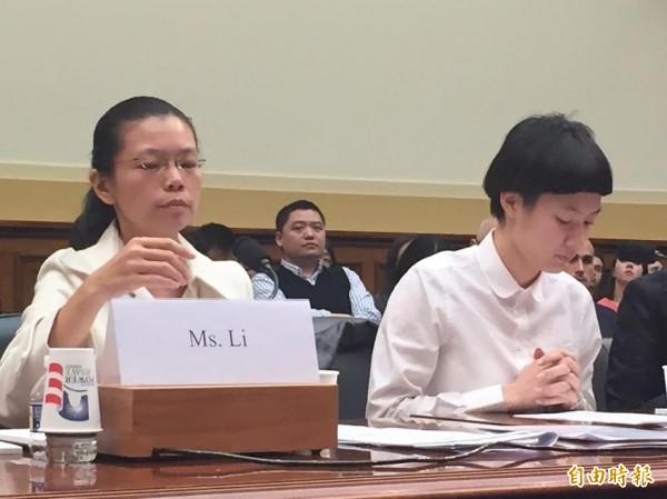 台灣人權工作者李明哲的妻子李凈瑜今天在美國國會受訪時表示,她接受兩岸關係會特定掮客壟斷。(記者曹郁芬攝)