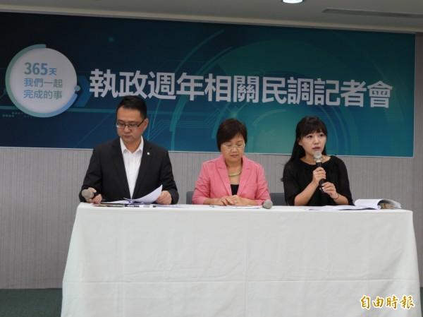 民進黨上午發布執政週年民調。(記者彭琬馨攝)