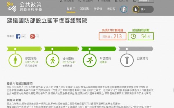 居民黃景瑋發起的「建議國防部設立國軍恆春總醫院」。(記者蔡宗憲翻攝)