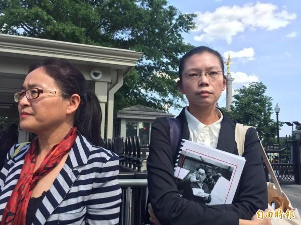李凈瑜今天赴白宮與國安會亞太資深主任博明等人會談近兩小時。(記者曹郁芬攝)