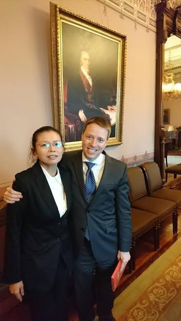 李明哲的妻子李凈瑜今天赴白宮與國安會亞太資深主任博明會談,希望美國協助救援。(楊憲宏提供)
