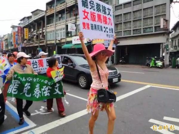 深綠選民遊行反蔡總統。(記者黃旭磊攝)