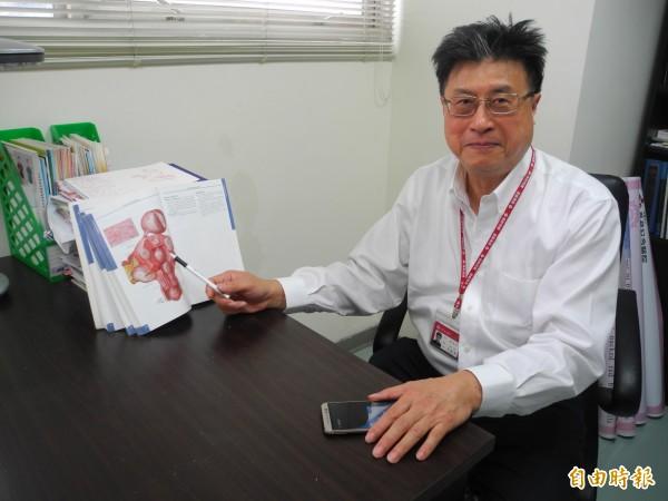 沈國壽表示,懷孕期間合併子宮肌瘤的發生率,大約為百分之0.3至2.6。(記者許展溢攝)