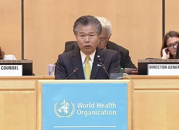 日本厚生勞動大臣政務官馬場成志在世界衛生大會發言表示,全球防疫不應有「特殊地理真空」。(翻攝自世衛組織直播)