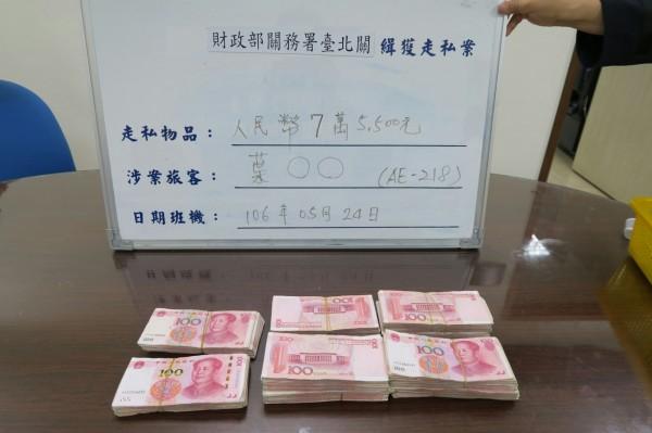偷帶人民幣近10萬入境  海關當場查扣