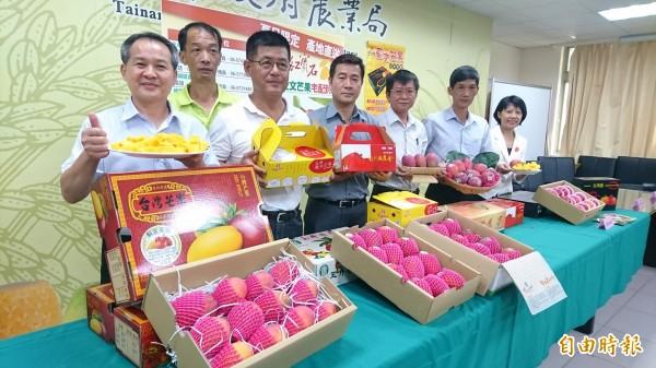 台南市農業局今天邀請芒果產地玉井、大內、南化、楠西和左鎮農會行銷芒果。(記者楊金城攝)