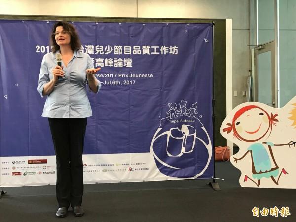 應邀來台的慕尼黑國際兒少雙年影展主席瑪雅歌慈博士(Dr Maya Götz)分享兒少節目研究成果。(記者陳炳宏攝)