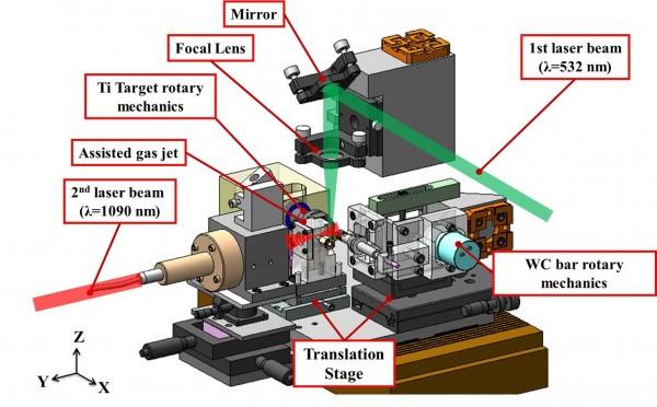 3金獎作品之一的具噴嘴內部供料之雷射披覆裝置。(記者廖淑玲翻攝)