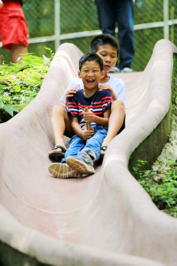 林鶴林的孩子和朋友使用大王椰子落葉座墊,溜得很順暢而開心大笑。(林鶴林提供)