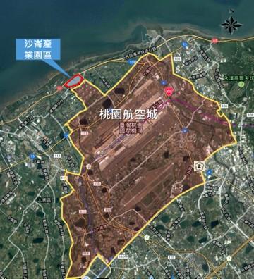 沙崙產業園區空拍位置圖。(桃園市地政局提供)(記者陳昀攝)
