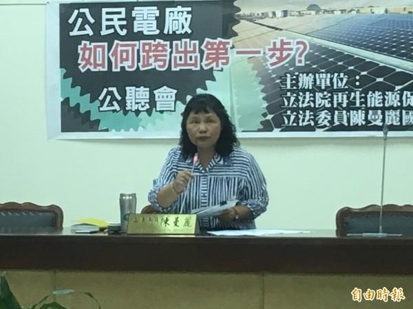 民進黨立委陳曼麗舉辦公民電廠公聽會,探討公民參與發電議題。(記者鄭鴻達攝)