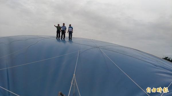 征宇科技負責人陳征宇帶大家登上超過5層樓高的藍色小巨蛋體驗。(記者廖淑玲攝)