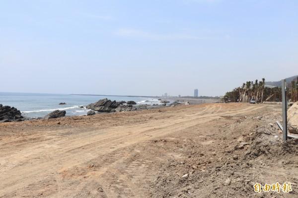 侵占國有地的棕櫚樹已被業者移除。(記者林敬倫攝)