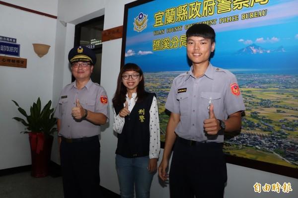 蕭維萱(左)與高睿佐(右)是礁溪警分局情侶檔。(記者林敬倫攝)