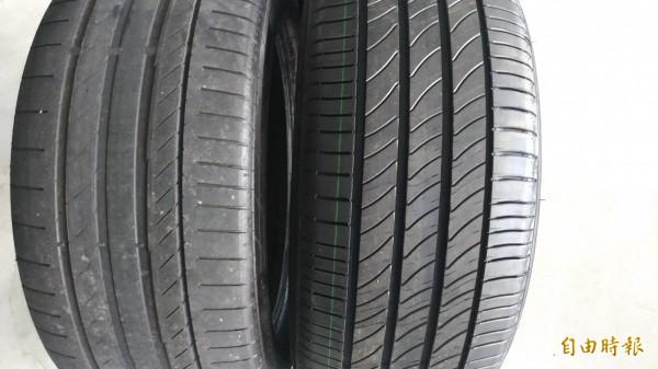 新舊輪胎胎紋比較。(記者廖淑玲攝)