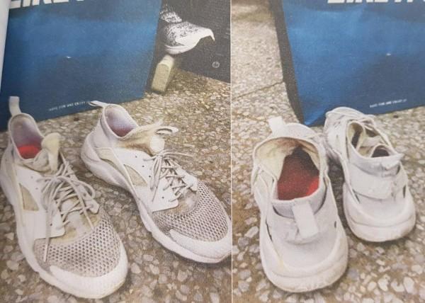 黃男發現愛鞋已經烏黑,甚至發出惡臭,氣的提告求償。(記者王駿杰翻攝)