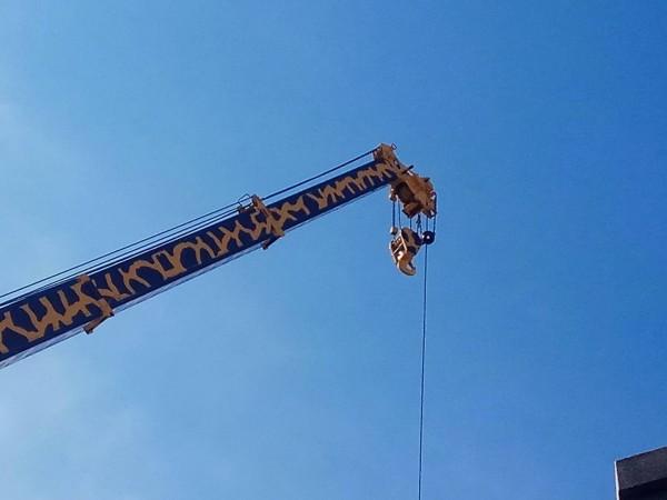 這輛大吊車彩繪成「長頸鹿」,伸出吊臂高達8層樓,頂端還有眼睛,民眾直呼「太夢幻了!」(記者湯世名翻攝)