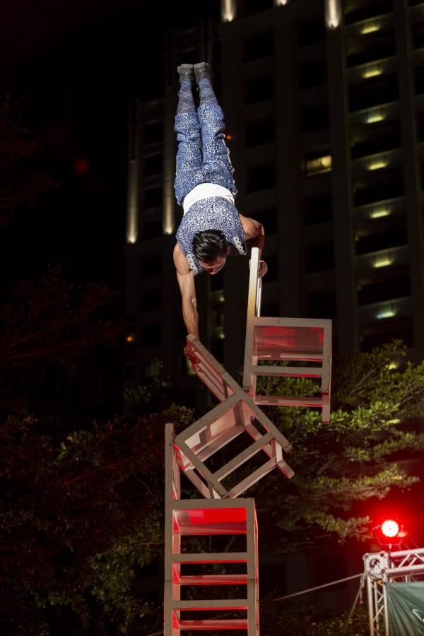 福爾摩沙馬戲團演出緊張刺激的高空特技。(新竹市政府提供)