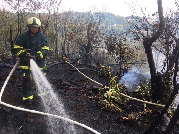 北投區奇岩路的丹鳳山登山步道突然起火。(記者鄭景議翻攝)