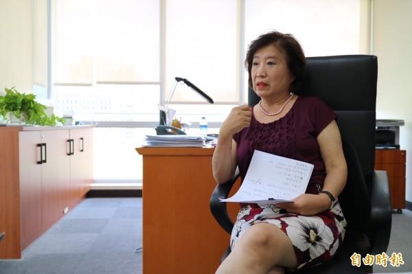 楊黃美幸現任民主基金會副執行長。(記者蘇芳禾攝)