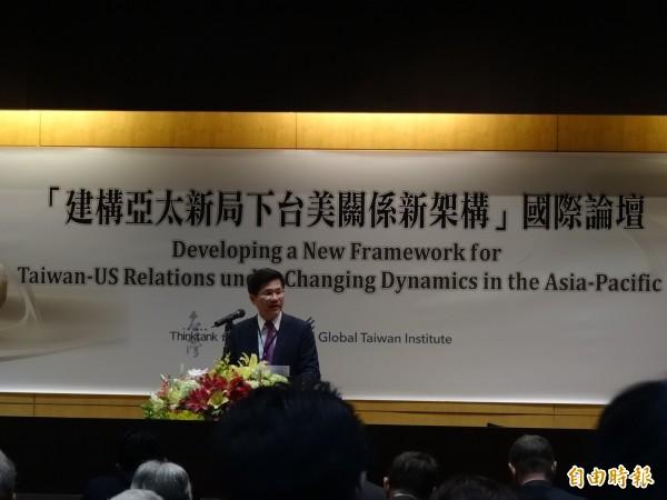 林佳龍18日以智庫董事長身分出席台灣智庫與全球台灣研究中心的國際論壇。(資料照,記者蘇芳禾攝)