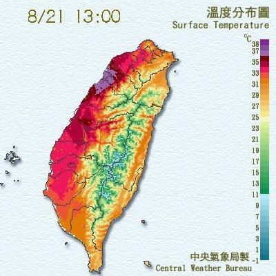 中央氣象局表示,新竹及金門測站今天下午1點左右飆破今年最高溫紀錄。(圖擷取自中央氣象局)