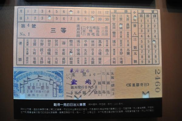 玉里百年照片展中,也有難得一見的花東線鐵路日治時代的火車票,這種車票是「上車後補票用」,由列車長直接在起迄站的欄位打洞作為標記,票上印有當時東線鐵路上各個站名。(記者花孟璟翻攝)