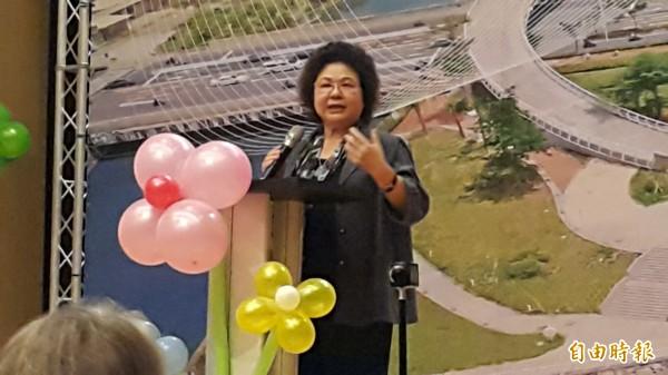市長陳菊致詞表示,論壇取法全球經驗,作為高市治水新策略。(記者陳文嬋攝)