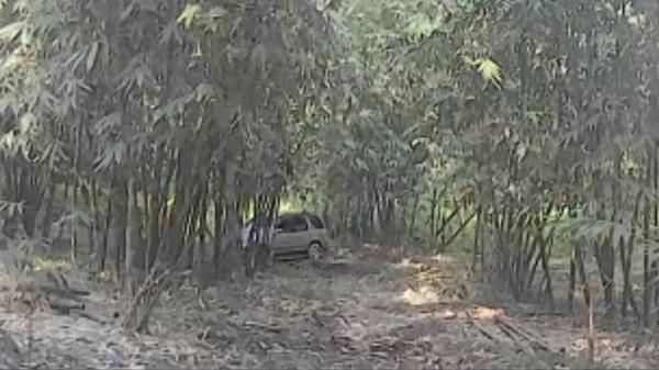 老翁駕駛的轎車卡在竹林中。(記者詹士弘翻攝)