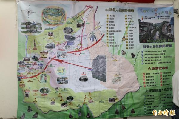 大頂埔社區推動社區營造,自主維護當地自然人文景點。(記者張安蕎攝)