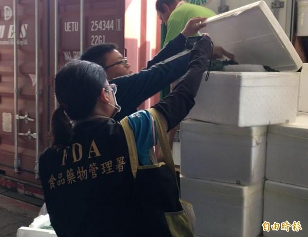 食藥署於高雄港嚴查貨櫃。(記者黃旭磊攝)