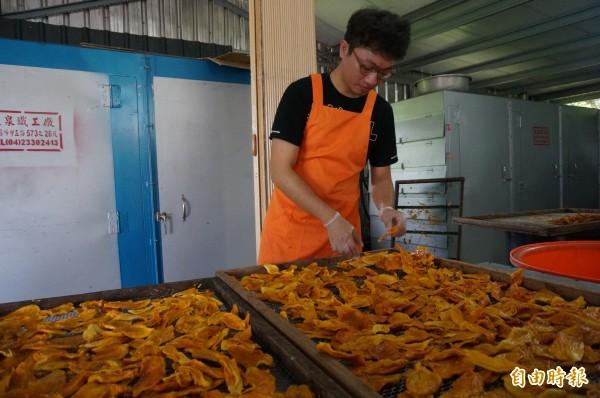 郭國辰因協助在地農民代烘果乾,快速累積經驗。(記者黃文瑜攝)