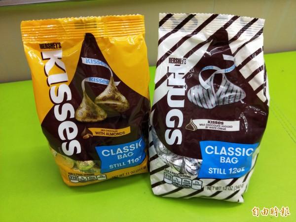 美國HERSHEY'S經典的「KISSES」巧克力是水滴形狀。(記者陳慰慈攝)