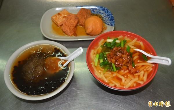 大里「竹仔坑大麵焿」除了必吃的大麵焿,搭配油豆腐等小菜和粉圓冰,只要銅板價就能飽餐一頓。(記者陳建志攝)