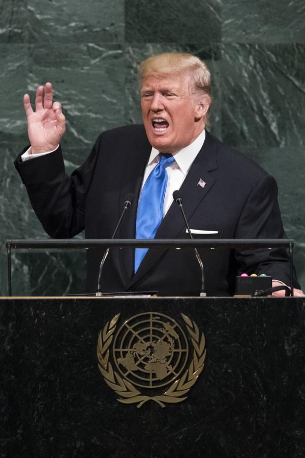 北韓11日嗆美國總統川普9月19日在聯合國大會上的演說是對北韓點燃戰爭的燭芯。(法新社)