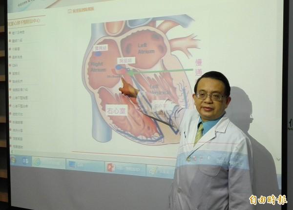 彰基兒童醫院兒童心臟科醫師吳焜烺指著張小妹後天「房室結」老化多一條電傳導,以冷凍消融術得到根治。 (記者湯世名攝)