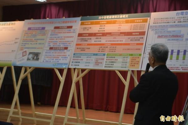 經濟部長沈榮津今天在台中電廠記者會中,說明台中電廠將陸續投入1500多億進行各項空污改善工程。(記者陳建志攝)