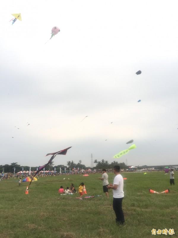 大小朋友享受放風箏的樂趣。(記者羅欣貞攝)
