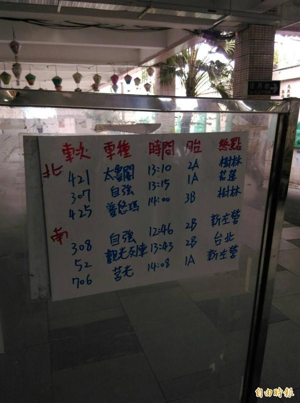 由於廠商還排不出時間到台東維修,台東火車站人員只能回歸最傳統的方式指引民眾。(記者王秀亭攝)