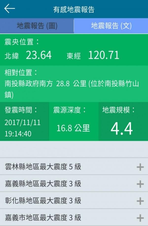 晚間7點14分發生規模4.4震央在南投縣的地震,不少人手機都有接到地震警報。(圖擷自中央氣象局地震警報APP)