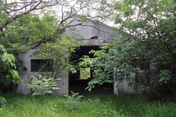 彰化榮民工廠閒置許久,水泥牆龜裂,周邊雜草叢生。(圖:巫宛萍提供)