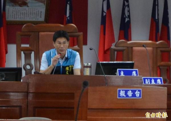 彰化市代會今天定期會開議,由副主席陳文賓代為主持。(記者湯世名攝)