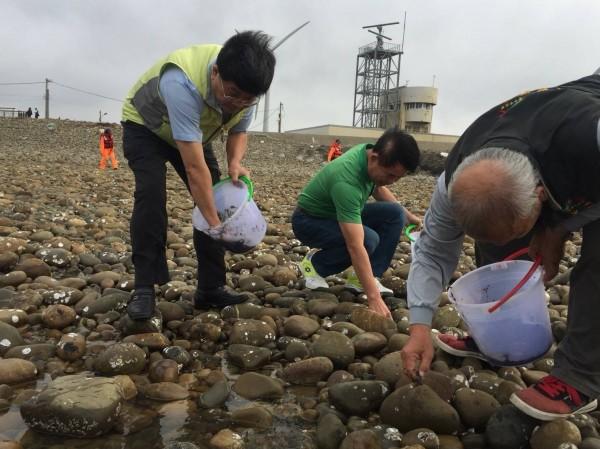 農業局舉辦海瓜子簾蛤放流復育活動,市議員吳敏濟(中)也到場參與。(農業局提供)