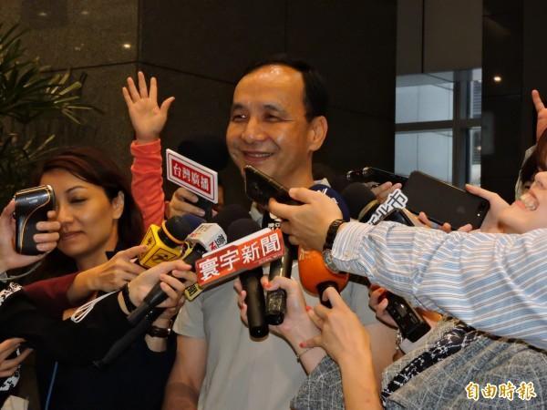 台北市長柯文哲預言新北市長朱立倫將挑戰2020,對此朱立倫表示,謝謝柯今天沒有罵新北市。(記者賴筱桐攝)
