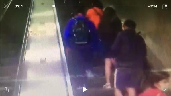 OL(著裙者)發現遭偷拍後,在捷運新埔站1號出口攔下游姓偷拍狼(穿直條紋短褲者),與他拉扯,要他掏出偷拍她沒穿內褲的偷拍影像。(記者吳仁捷翻攝)