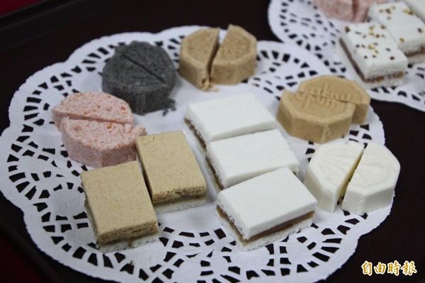 台菓子工作室将杂粮作为糕点材料,呈现朴子市的特色。(编辑林宜樟摄)