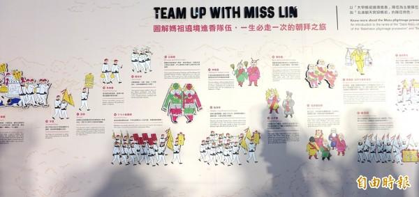桃機展出「Hello, Miss Lin」 媽祖文化特展,中華文化總會用數位互動及中英文讓出境的國內外旅客都可以清楚瞭解台灣的媽祖文化。(記者姚介修攝)