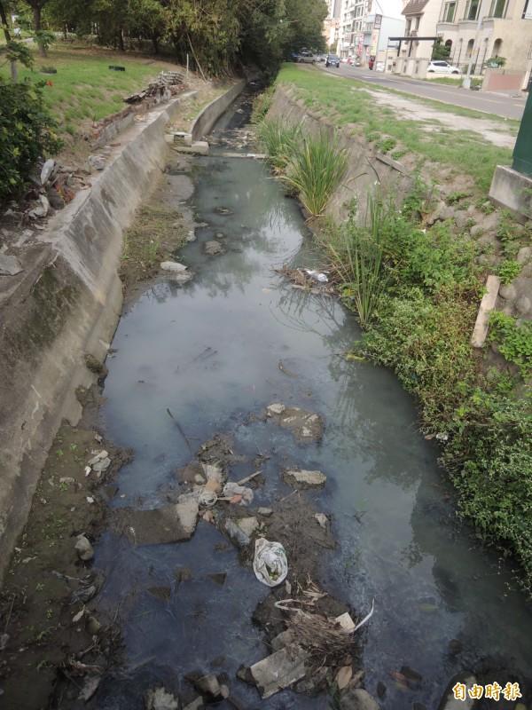 交大客家文化學院旁六家一路一段的排水,也屢遭民眾抱怨髒亂發臭。(記者廖雪茹攝)